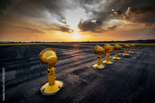 Airport approach landing lights | Buy Photos | AP Images | DetailView
