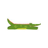 Friendly crocodile lying sprawled on the floor, funny predator cartoon character vector Illustration on a white background