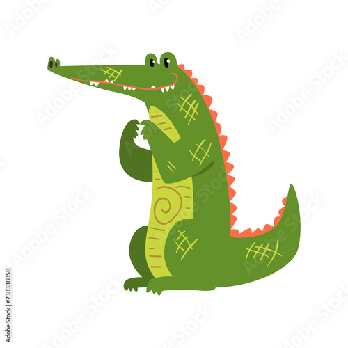 Friendly crocodile swallowing the sun, funny predator cartoon character vector Illustration on a white background