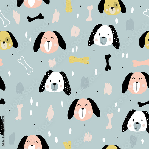 obraz PCV Seamless pattern with cute little dogs, great for baby prints. For print. Hand-drawn.