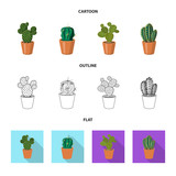 Isolated object of cactus and pot icon. Collection of cactus and cacti vector icon for stock.