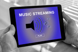 Music streaming concept on a tablet