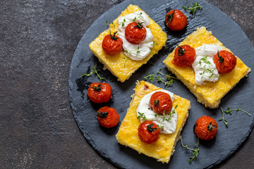 polenta with baked tomatoes and cream cheese