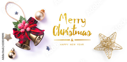 Christmas greeting card; Christmas element on white background; top view; - 238349890