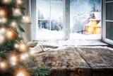 table background with winter window and christmas tree