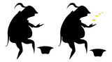 the caricature silhouette of a poor actor in a frock coat, begging with coins and without them - 238353073