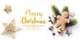 Christmas greeting card; Christmas element on white background; top view; - 238353610