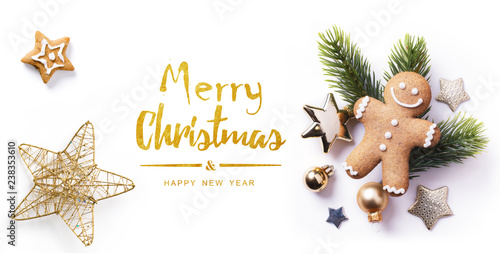 Christmas greeting card; Christmas element on white background; top view; © Konstiantyn