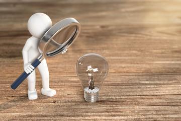3D Illustration weißes Männchen mit Lupe Glühbirne © fotomek