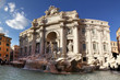 Wide angle view of the Trevi Fountain in Rome, Italy