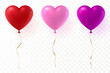 Vector heart shaped balloons set isolated on transparent background. Red, pink and purple glossy balloon with gold ribbon. Festive decoration element for Valentine's Day or Wedding. Eps 10. - 238357459