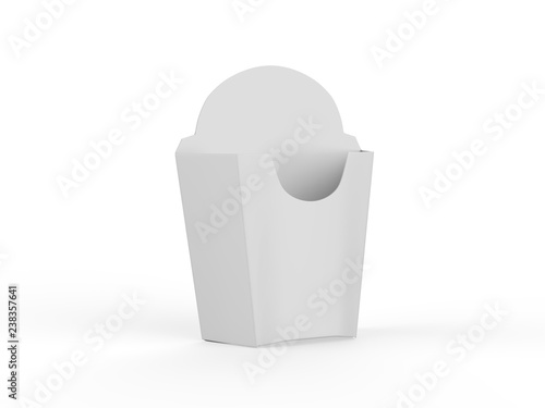 French Fries White Paper Box Fast Food Box Mock Up Template On