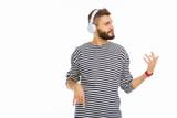 Pleasant nice man listening to instrumental music - 238363478