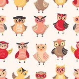 Seamless pattern with adorable owls on white background. Backdrop with cartoon forest birds or cute funny owlets. Colorful flat vector illustration for wrapping paper, fabric print, wallpaper. - 238372837