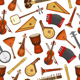 Musical instruments of folk music seamless pattern