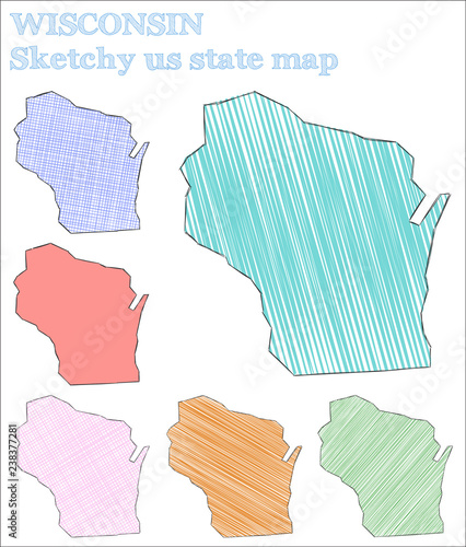 Wisconsin sketchy us state. Optimal hand drawn us state. Stunning ...