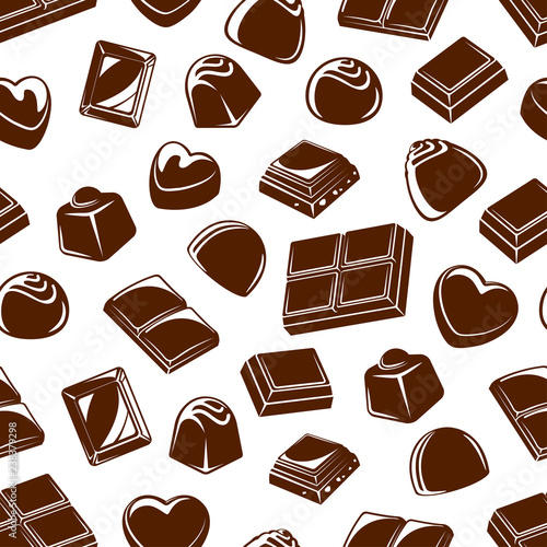 fototapeta na ścianę Chocolate candies and bars seamless pattern