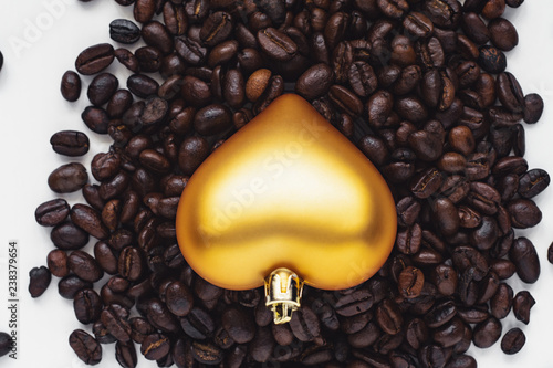 heart shaped decoration in coffee beans