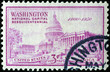 Washington Capitol on ancient american stamp
