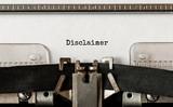 Text Disclaimer typed on retro typewriter - 238390256