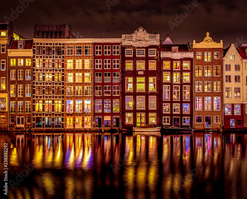 Canal houses by night