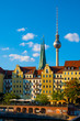 Berlin, Germany - Panoramic view of the Historic Mitte quarter by the Spree river with Television Tower - Fernsehturm - in background