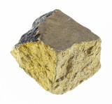rough yellow chalcopyrite stone on white - 238409435