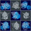 Different engineering constructions collection, abstract vectors set. - 238418652