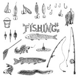 Set of fishing design elements