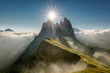 Quadro Seceda among the clouds Dolomites