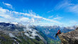 tourist visiting the high mountains in norway