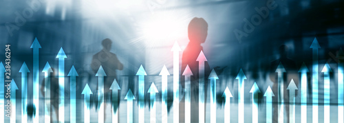 Up arrow graph on skyscraper background. Invesment and financial growth concept. - 238436294