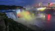 Niagara Falls closeup panorama by night. Ontario, Canada