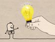 Leinwanddruck Bild - Cartoon Big Hand Giving a Light Bulb to a Cartoon Man