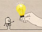 Cartoon Big Hand Giving a Light Bulb to a Cartoon Man - 238455666