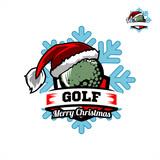 Golf Santa Snow Flake Logo 01
