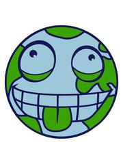 erde planet welt kugel rund kreis verrückt grimasse mund zunge rausstrecken lustig comic cartoon clipart design ärgern witzig