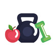 weight lifting dumbbell with apple fresh fruit