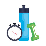 dumbbell with water bottle and chronometer