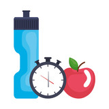 bottle gym with chronometer and apple - 238479486