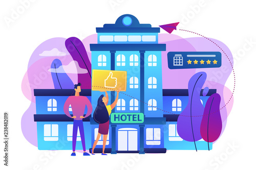 Business people with thumb up for modern trendy lifestyle hotel. Lifestyle hotel, modern hospitality trend, cutting-edge hotel concept. Bright vibrant violet vector isolated illustration - 238482019