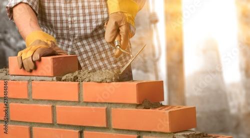 Bricklayer constructor architecture background block brick - 238484846