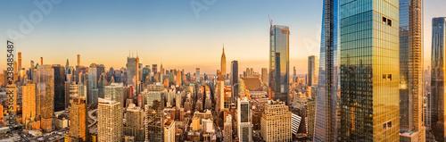fototapeta na ścianę Aerial panorama of New York skyline above Hudson Yards midtown Manhattan skyscrapers on a sunny afternoon