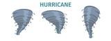 Hurricane Whirlwind, Tornado Swirl Flat Vector Set