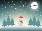 Snow man with winter landscape
