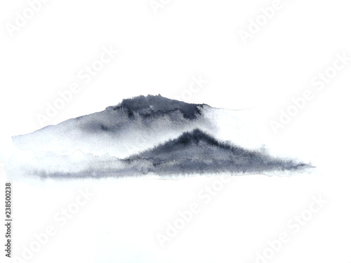 watercolor ink landscape chinese mountain fog . Traditional oriental. asia art style.isolated on a white background © atichat