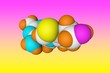 Leinwanddruck Bild - Molecular model of vitamin B1, thiamine. Healthy life concept. Scientific background. 3d illustration