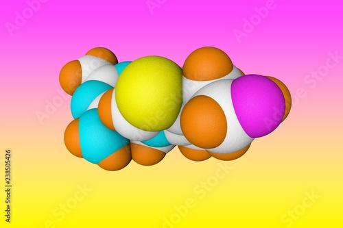 Leinwanddruck Bild Molecular model of vitamin B1, thiamine. Healthy life concept. Scientific background. 3d illustration
