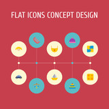 Set of baby icons flat style symbols with baby comb, boat, puzzle and other icons for your web mobile app logo design.