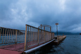 Pier in Hakone national park at Ashi lake in the evening